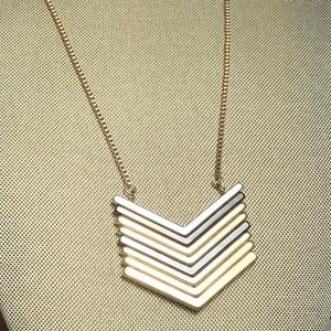 Mixed Metal Stacked Arrow Pendant Necklace